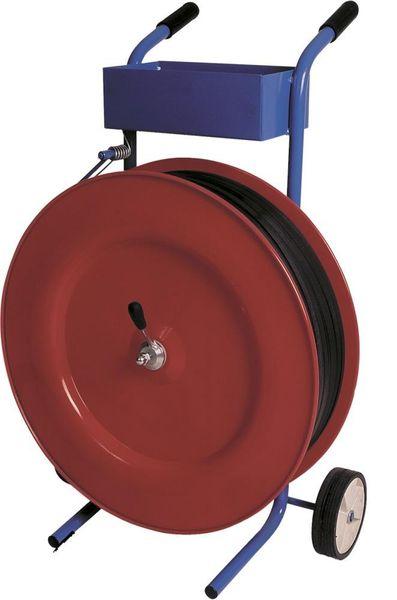 Abrollwagen rot, fahrbar für PP-Band 13/16mm