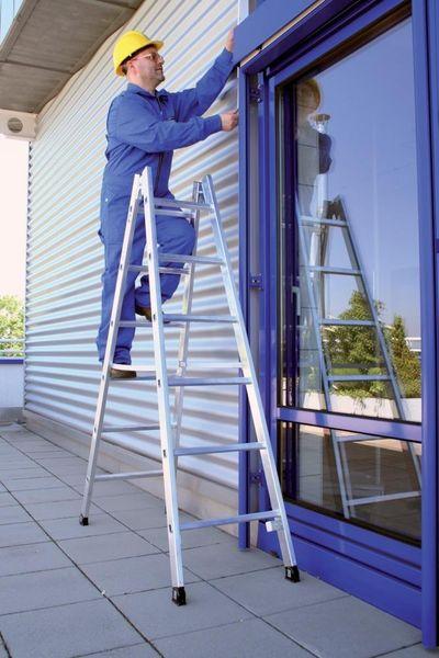 Stehleiter alu 2x10 Spr. 4,20 m nivello-Fuß