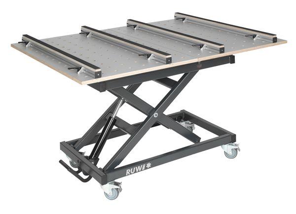 Arbeitstisch HPL Schwenk-Lochrasterplatte mit Schubkasten und Stauraum