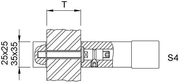 KWS 8B54 StückbefestigungS4-M8,f.Glas,Ros.35x35mm