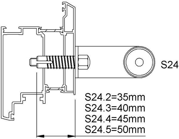 KWS 8B74 StückbefestigungS24-M8,f.Profil,Dübel45mm