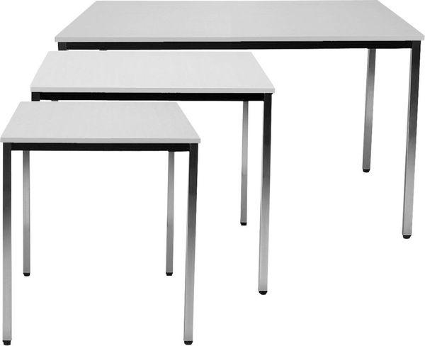 Tisch 2000x800 mm chrom/lichtgrau