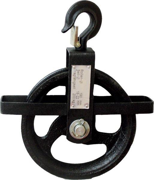 Seilrad 190 mm, 200 kg für Seile von 18 - 22 mm