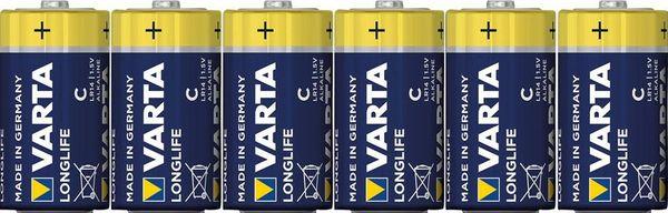 VARTA Longlife Extra Baby/C/LR14 6er Folie, 1,5V