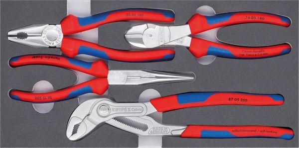 Zangen-Set Basic Chrom 4tlg.Schaumeinlage Knipex