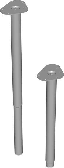 Teleskop-Fuss silberfarb.800-1200mm rd.50mm