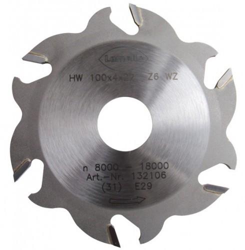 HW-Nutfräser, 100 x 4 mm, Z6 Wechselzahn (3+3)