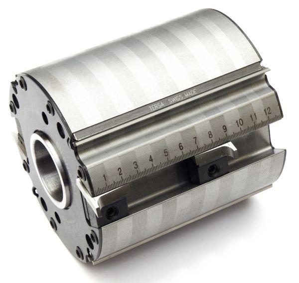 TERSA - Hobelkopf 100 x 80 x 30 mm Z 2+2 m. 2 Aufnahmenuten f. Profilmesser - R 2000 PRO inkl. einer kpl. Profilmessereinrichtung nach Wahl inkl. eine
