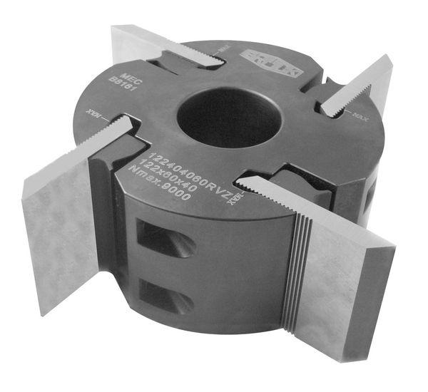 BRÜCK Profilmesserkopf 122 x 150 x 40 mm Z4, Stahl für rückenverzahnte 8 & 10 mm Messer (ohne Messer)