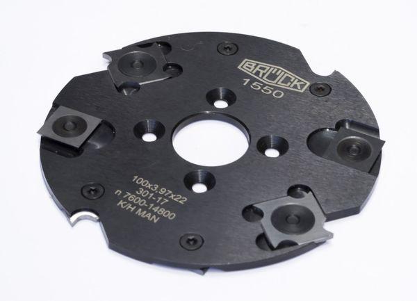 BRÜCK WP-Nuter f. Lamellen Z 4 / V 4 100 x 3,97 x 22 mm m. 4 NL 4 mm, einseit.gesenkt, TK 36, Stahl-Ausführung