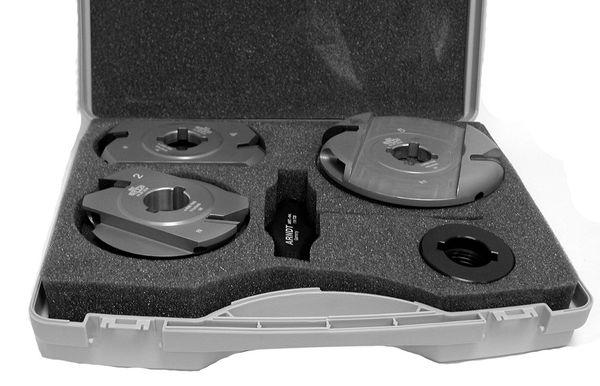 BRÜCK MULTI-Profilfräser-Set 5tlg./CNC-Ausführung - MASTER PRO - kpl. m. Zwi.-Ri.-Satz (je 1x5;8;10; 12mm, je2x0,1;0,3;0,5;1+3 mm)in Holzkassette