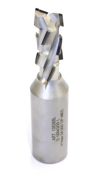 BRÜCK DP-Schaftfräser Z 2+2 -ECO- / links D=12mm L2=25mm L1=75mm S=12x40mm ECO-Bestückung 2,5 mm - HW-Einbohrschneide