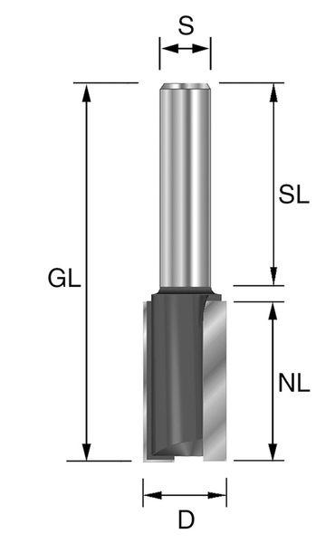 BRÜCK HW-Nutfräser Typ 220 Z2 D=16mm,NL=38mm,GL=78mm,S=12x40mm