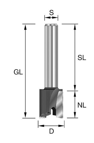 BRÜCK HW-Planfräser Typ 222 Z2 D=30mm,NL=12mm,GL=44mm,S=8x32mm