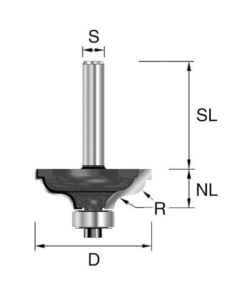 BRÜCK HW-Karnisfräser Typ 331 Z2 D=34,9mm,NL=14,3mm,S=12x40mm,R=4,8mm