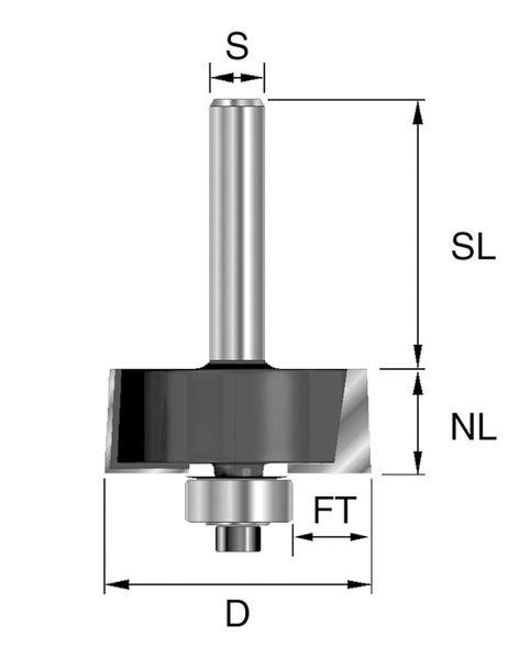 BRÜCK HW-Falzfräser Typ 351 Z2 D=31,8mm,NL=12,7mm,S=8x32mm