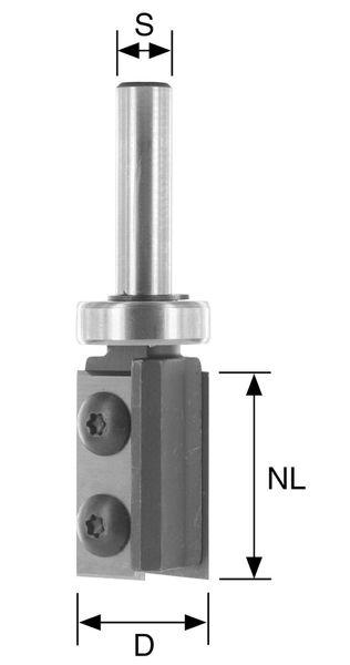 BRÜCK HW-WP-Bündigfräser Typ 386A Z2 D=22mm,NL=20mm,S=8mm Kula schafts. best. mit HW-WP 19,5x12x1,5 mm (#62020012)