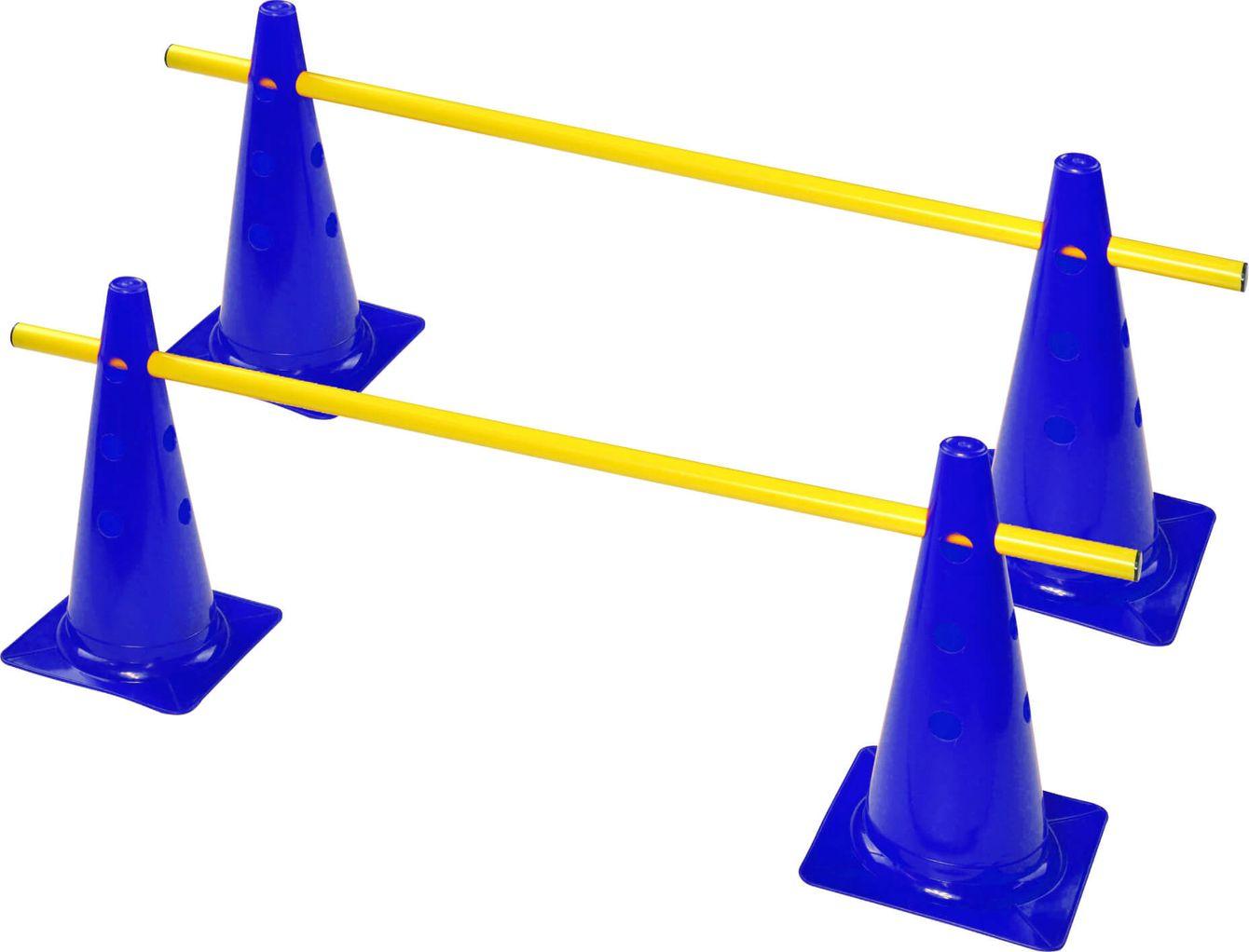 zestaw treningowy | 4 pachołki z otworami 38 cm + 2 tyczki 1 m