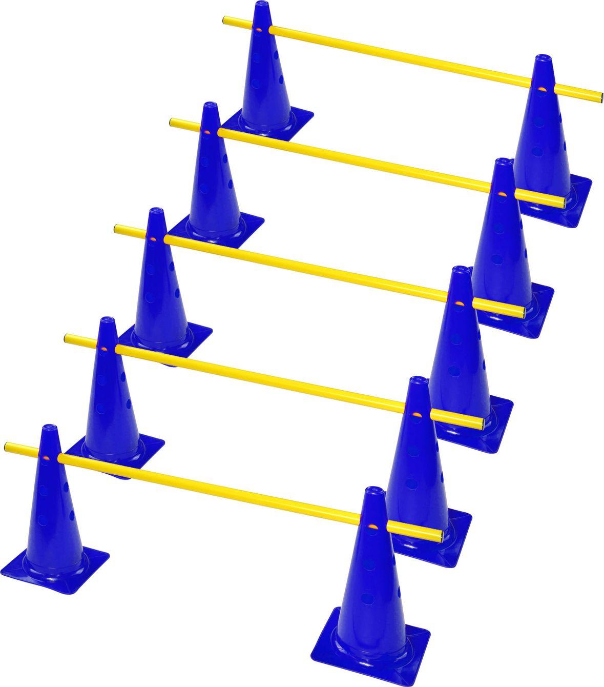 zestaw treningowy | 10 pachołków z otworami 30 cm + 5 tyczek 1 m