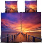 4 tlg Bettwäsche 135 x 200 cm Sonnenuntergang Microfaser 2 Garnituren NEU  001