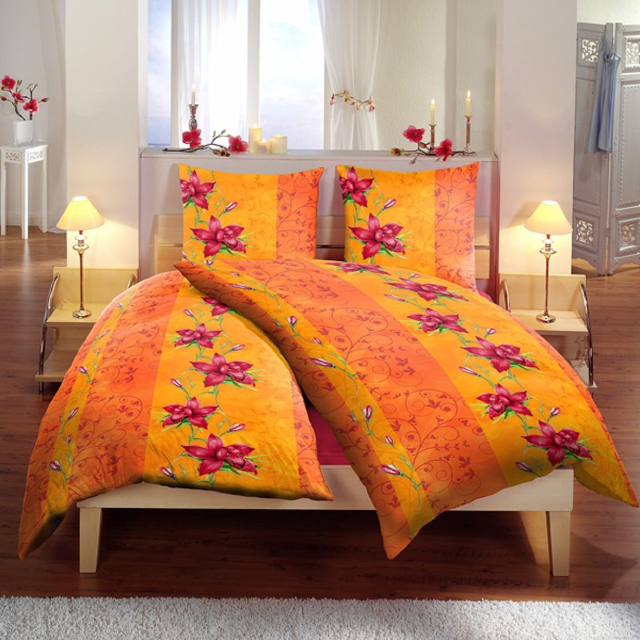 6 teilige bettw sche 160 x 210 cm blume orange microfaser garnitur set bettw sche 4 teilig. Black Bedroom Furniture Sets. Home Design Ideas