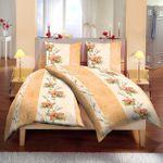 6 teilige Bettwäsche 160 x 210 cm Blume Creme Microfaser Garnitur Set 001