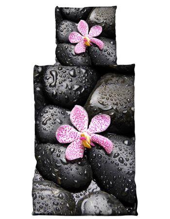 2 tlg Bettwäsche 135 x 200 cm Baumwolle Steine schwarz Premiumdruck 3D Garnitur – Bild 1