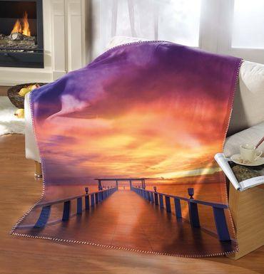 Kuscheldecke 130 x 170 cm Sonnenuntergang als Qualitätsware (Premiumdruck)