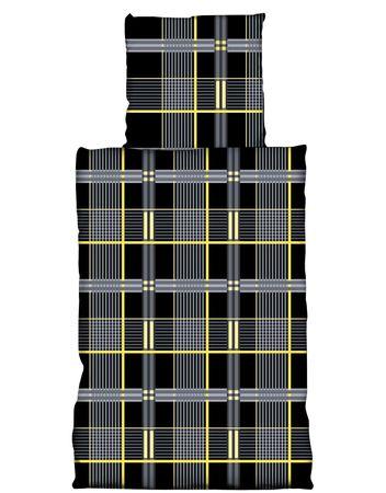 4 tlg Flausch Bettwäsche 135 x 200 cm schwarz gelb Microfaser Thermofleece