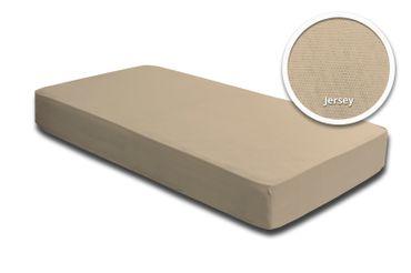 Spannbettlaken Spannbetttuch beige sand 140x200 cm - 160x200 cm Jersey Baumwolle – Bild 2