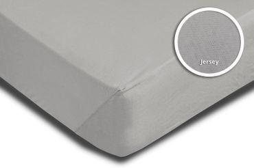 Spannbettlaken Spannbetttuch silber 120 x 200 cm - 130 x 200 cm Jersey Baumwolle – Bild 3
