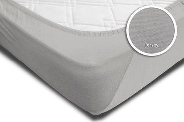 Spannbettlaken Spannbetttuch silber 140x200 cm - 160x200 cm Jersey Baumwolle – Bild 4