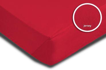 Spannbettlaken Spannbetttuch rot 180 x 200 cm - 200 x 200 cm Jersey Baumwolle – Bild 3
