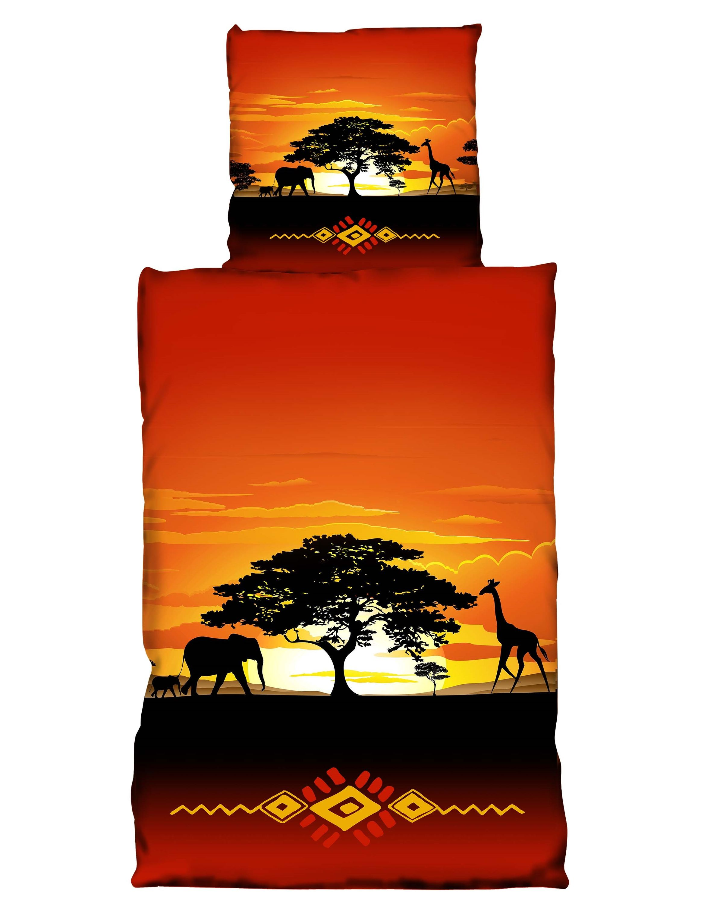 4 tlg bettw sche 135x200cm afrika safari terra microfaser premiumdruck bettw sche microfaser. Black Bedroom Furniture Sets. Home Design Ideas