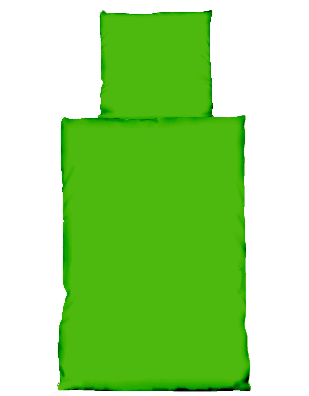 2 Tlg Bettwasche 135x200 Und 80x80 Cm Uni Grun Garnitur Reissverschluss