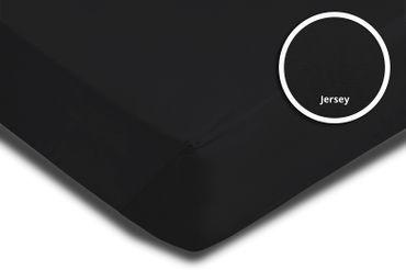 Spannbettlaken Spannbetttuch schwarz 90 x 200 cm - 100 x 200 cm Jersey Baumwolle – Bild 3