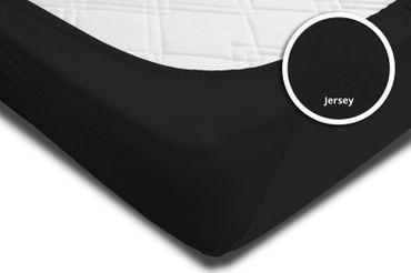 Spannbettlaken Spannbetttuch schwarz 120x200 cm - 130x200 cm Jersey Baumwolle – Bild 4
