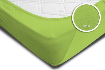 Spannbettlaken Spannbetttuch grün 90 x 200 cm - 100 x 200 cm Jersey Baumwolle – Bild 4