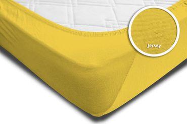 Spannbettlaken Spannbetttuch gelb 180 x 200 cm - 200 x 200 cm Jersey Baumwolle – Bild 4