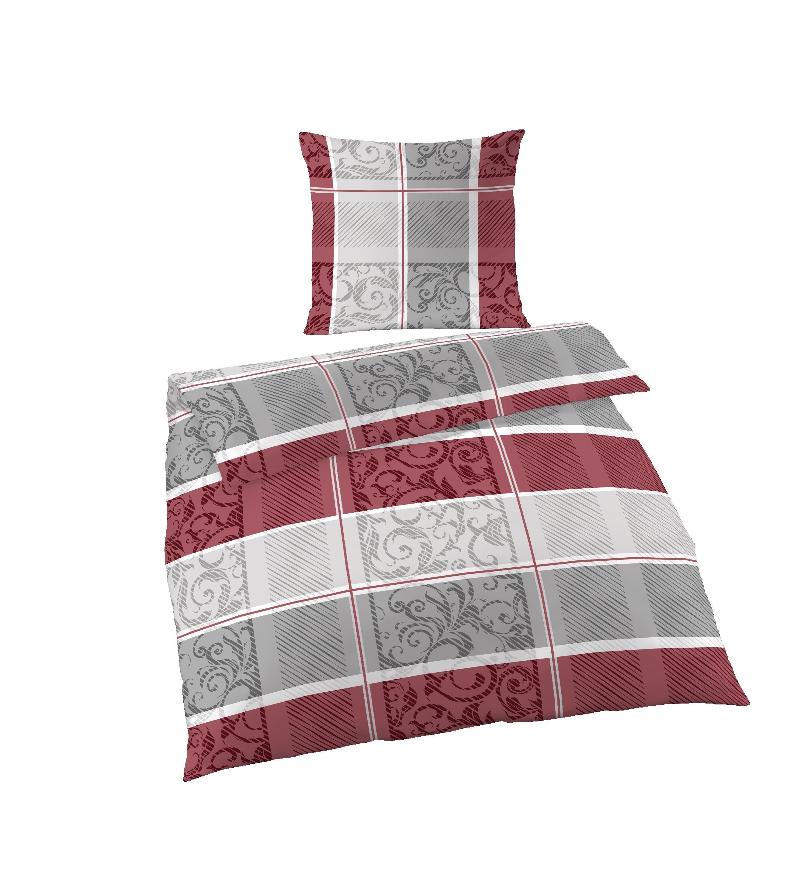 2 tlg bettw sche 135 x 200 cm grau rot fein biber baumwolle garnitur bettw sche baumwolle 135x200 cm. Black Bedroom Furniture Sets. Home Design Ideas