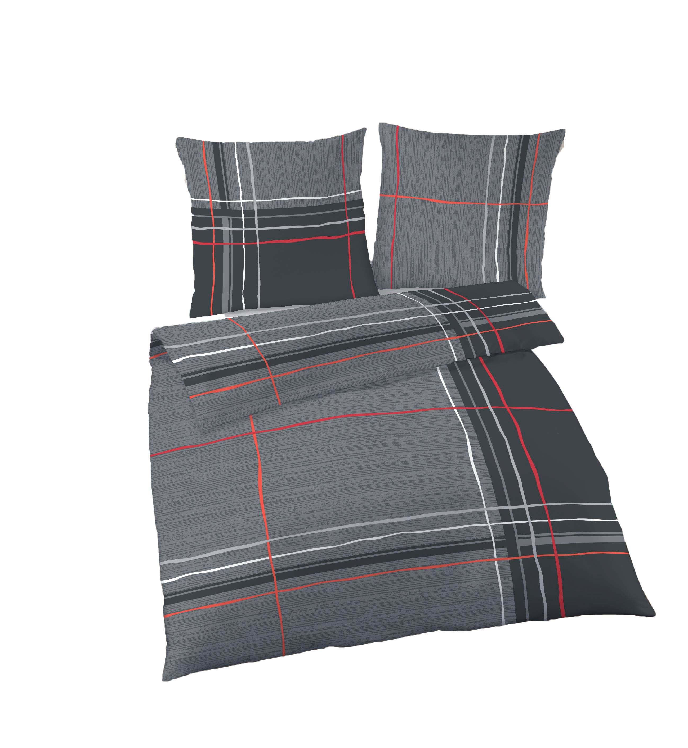 2 tlg bettw sche 135 x 200 cm grau rot fein biber baumwolle ebay. Black Bedroom Furniture Sets. Home Design Ideas