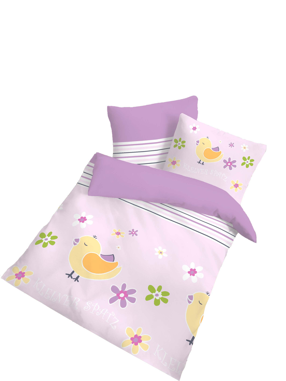 2 tlg kinder baby bettw sche 100x135 cm spatz flieder. Black Bedroom Furniture Sets. Home Design Ideas