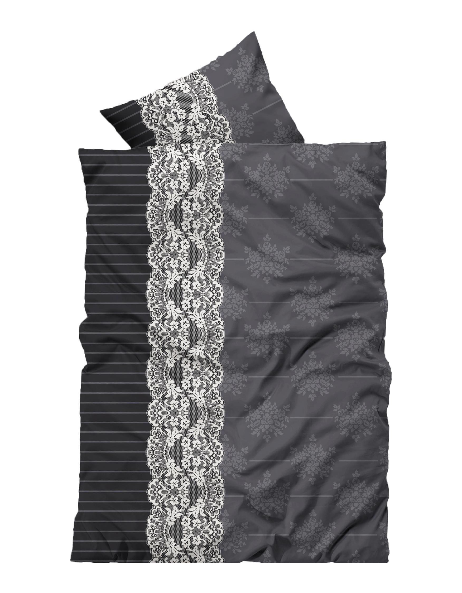 4 Teilig Flausch Bettwäsche 135x200 Cm Ornamente Grau Schwarz Weiß