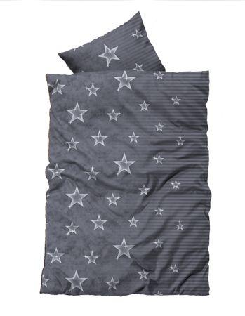 2 teilig Flausch Bettwäsche 155x220 cm Übergröße Sterne grau silber Thermofleece – Bild 1
