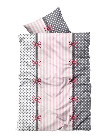 4 tlg Flausch Bettwäsche 155 x 220 cm Übergröße rosa grau Thermofleece – Bild 1