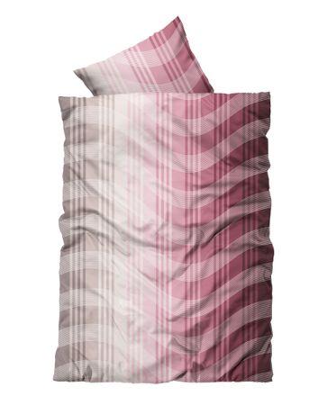 2 tlg Flausch Bettwäsche 135 x 200 cm Streifen rot weiß Thermofleece – Bild 1