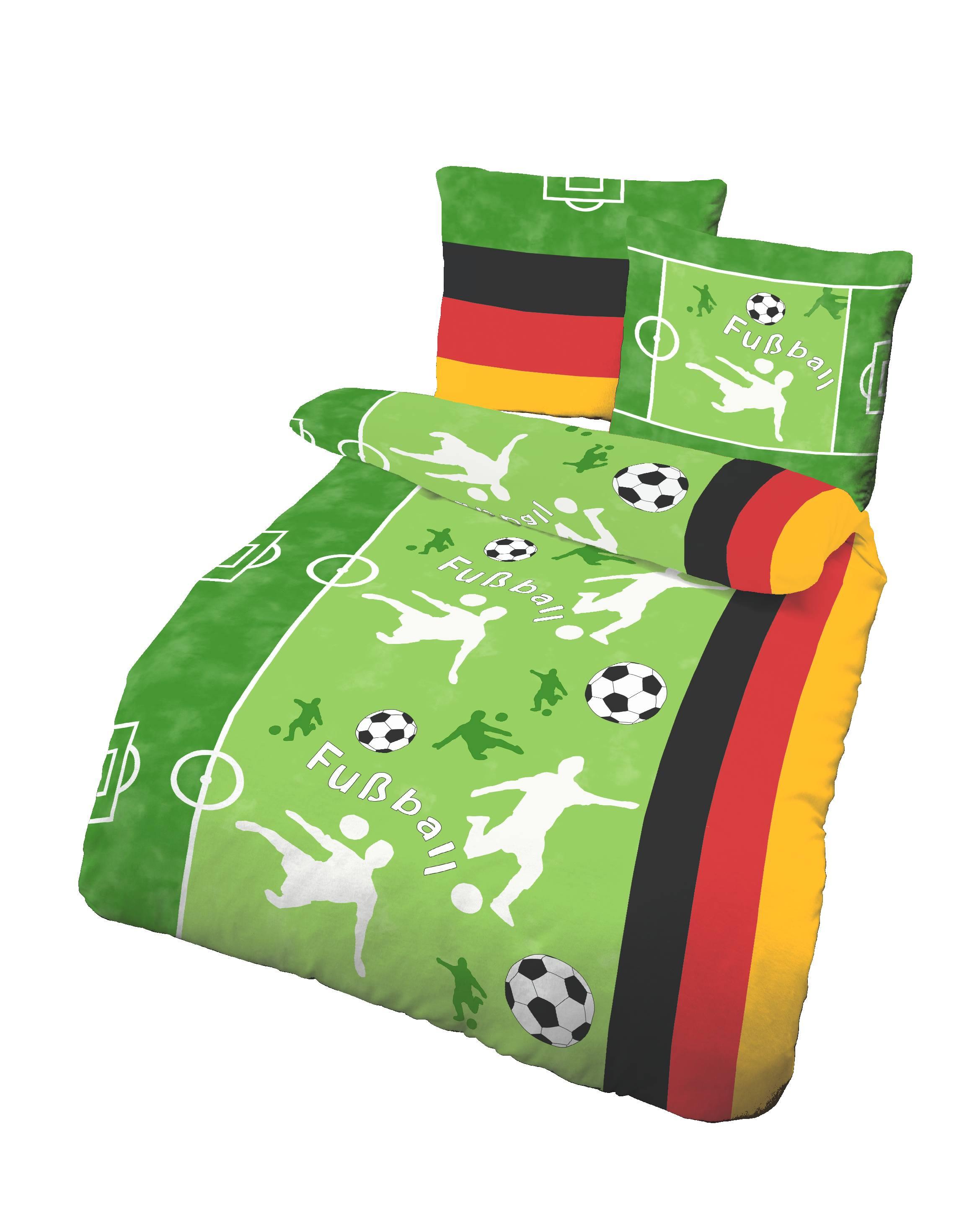 4 tlg bettw sche 135 x 200 cm fussball gr n feinbiber baumwolle b ware ebay. Black Bedroom Furniture Sets. Home Design Ideas
