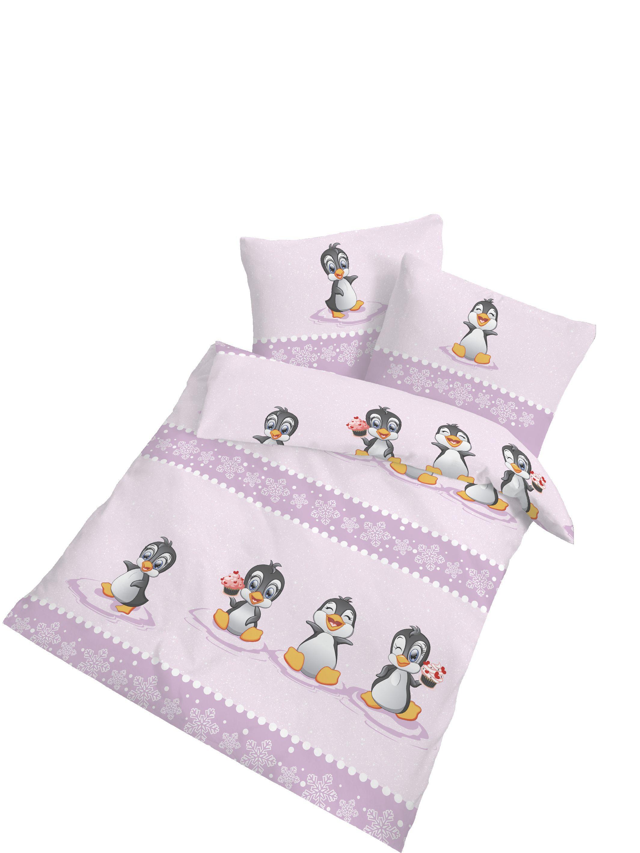 2 tlg kinder baby bettw sche 100x135 cm pinguin biber baumwolle b ware ebay. Black Bedroom Furniture Sets. Home Design Ideas
