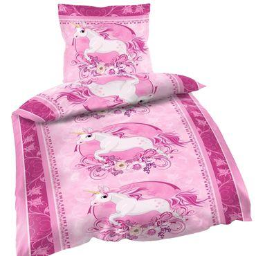 2 tlg Bettwäsche 135 x 200 cm Einhorn rosa Unicorn Microfaser Garnitur – Bild 1