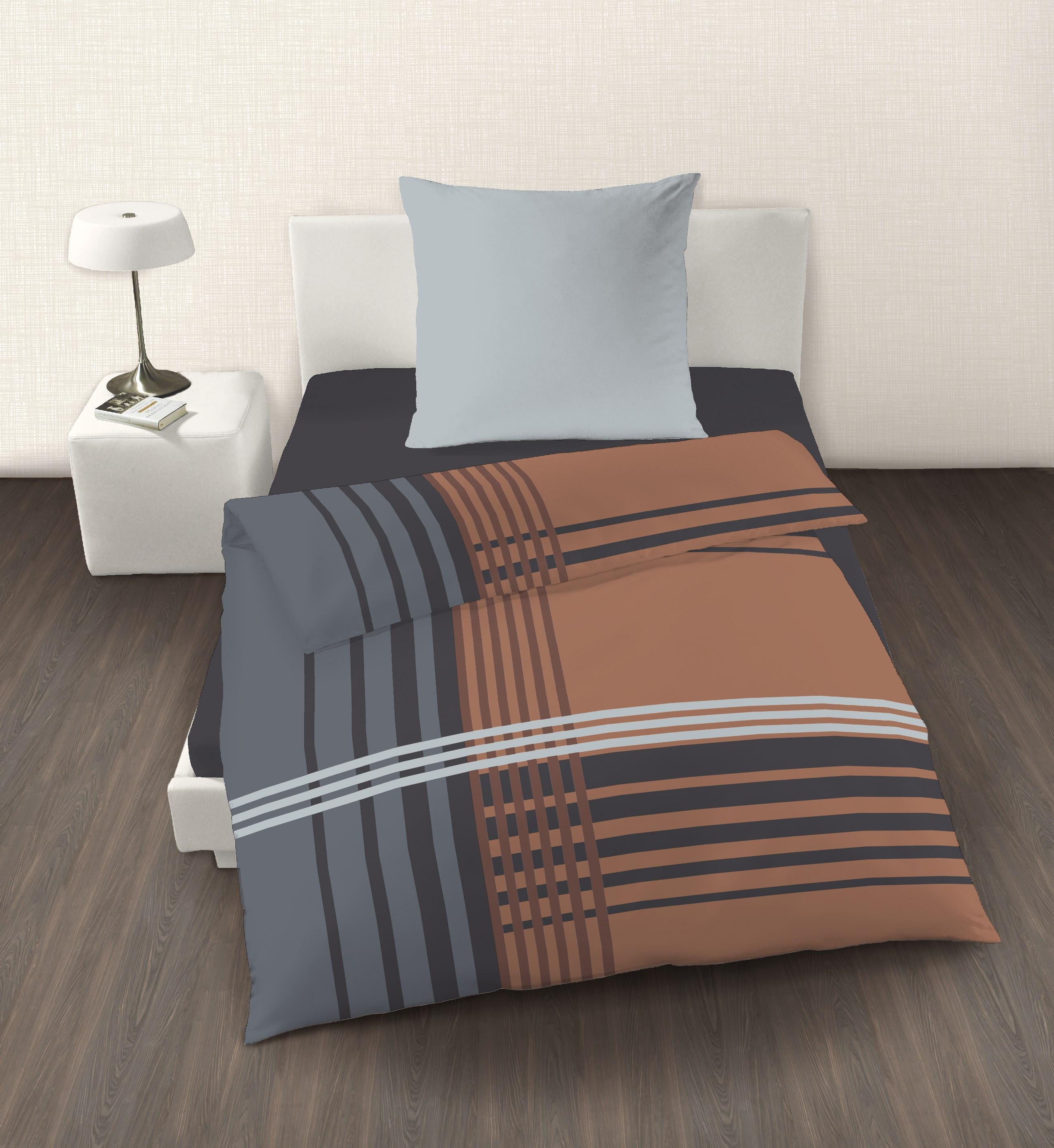 4 tlg bettw sche 135 x 200 cm braun kariert feinbiber baumwolle b ware amazon bettw sche set. Black Bedroom Furniture Sets. Home Design Ideas